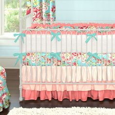 coral and teal floral baby crib bedding - Baby Bedding For Girls