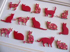 3D Cat Whimsy Collage. Coral Shades or YOUR Colour Choices. Mothers Day. Spring, Touch of Yellow. Floral. 5x7