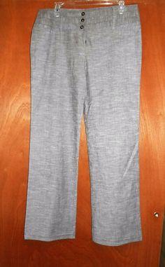 Women Pants Sz 13 Junior ABYER Career Dress Gray Stretch Slacks Career Summer…