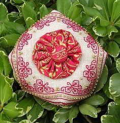 Nancy Pederson's Design DMC and Wichelt Lambwool linen Stitched by Anita D