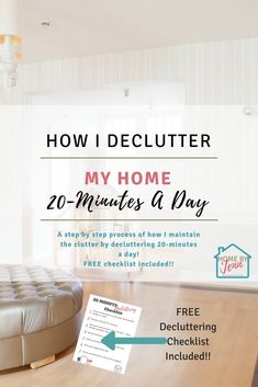 In this post, Jenn shows you how to declutter every room in your home quickly. She also shows you how her 20-minute decluttering process works. Declutter your home and become more organized by only spending 20-minutes a day at this. There's a free decluttering checklist too to help you become more organized. #cleanhome #declutter #decluttering #wheretostart #wheretostartcleaning #organizedhome #declutteryouhouse #clutterfree #howtodeclutteryourhome #howtodeclutter #declutteran