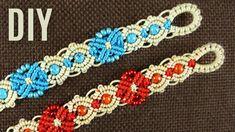 Elegant Flowers Beaded Macrame Bracelet Tutorial #MacrameJewelry #HandmadeJewelry #BeadedJewelry #Boho #Bracelet #Tutorial #Fiberart #MacrameSchool #diybracelets #flowers #jewelrymaking