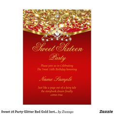 Sweet 16 Party Glitter Red Gold Invitation Sweet 16 Regal Royal Gold Red, Princess Sweet Sixteen 16th Birthday Party. Gold Sparkle Glitter and White Pearl Silver Tiara. Party Princess Party for a girl. Fabulous product for teen Girls. Invitation Formal. Customize to change or add details. Customize with your own details. All Designs are Copyrighted! Content and Designs © 2000-2016 Zizzago™ ® © (Trademark) and all their licensors. Zizzago created this design PLEASE NOTE all flat images! They…