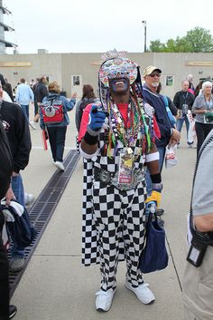 One of the INDY 500 biggest fans. He dresses like this every year.  (I've seen him around!)