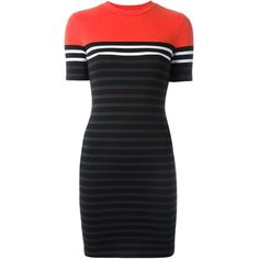 T By Alexander Wang Striped T-Shirt Dress ($253) found on Polyvore featuring women's fashion, dresses, multicolour, form fitting dresses, striped tee shirt dress, tshirt dress, short striped dress and tee shirt dress