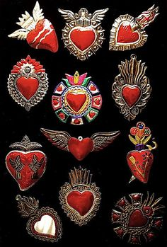 Red and silver hearts by CORAZON DE HOJALATA México