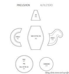 """Materiales gráficos Gaby: Alfiletero """"Tetera"""""""