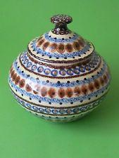 alte Keramikdose Keramik Dose mit Deckel, Keksdose  Lausitzer Keramik Malerei