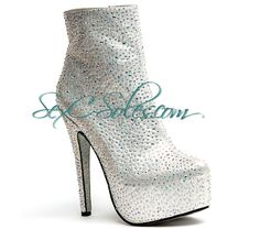 Silver Rhinestone Encrusted Platform Desire Ankle Bootie $159.99 use code SexC10 for 10% off