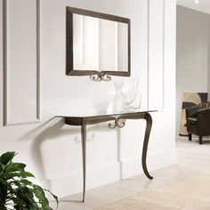 Console table Deco by Target Point with metal frame and transparent gl at My Italian Living Ltd