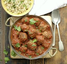 Moroccan meatballs with herb couscous. Looks, smells and - most importantly - TASTES fantastic!