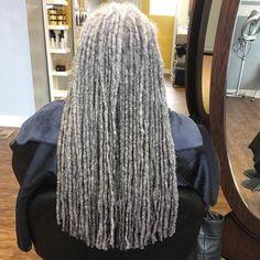 I can't wait to have grey locs One day! I can't wait to have grey locs Long Gray Hair, Silver Grey Hair, White Hair, Black Silver, Black Hair, Dreads Styles, Curly Hair Styles, Natural Hair Styles, Black Men Hairstyles