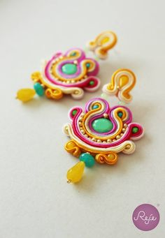 Summer colorful chandelier soutache earrings, Reje creations 100% handmade in Italy