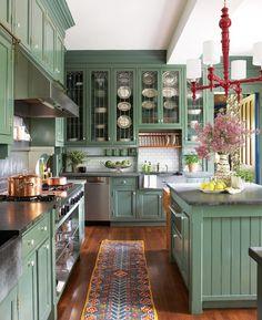 Elegant and Luxury 30 modern green kitchen decor ideas Home Decor Kitchen, Interior Design Kitchen, New Kitchen, Home Kitchens, Green Kitchen Walls, Green Kitchen Decor, Room Kitchen, Green Home Decor, Light Green Kitchen