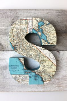 Items similar to Vintage Map Letter S on Reclaimed Wood - Monogram on Etsy Wood Monogram, Monogram Initials, Map Crafts, Arts And Crafts, Monogram Letters, Alphabet Letters, Decoupage, Letter Wall, Lettering Design