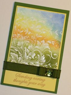 """*** """"Sending Caring Thoughts Your Way"""" Card (Site: photo & general info) (Note to self: """"My Stash"""" - Hero Arts """"Leafy Vines"""") Making Greeting Cards, Greeting Cards Handmade, Pinterest Cards, Hero Arts Cards, Hand Stamped Cards, Card Making Techniques, Embossing Techniques, Embossed Cards, Sympathy Cards"""
