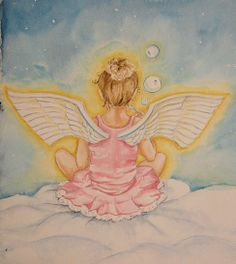 """9 x 12 Original Watercolor Painting, titled """"Blowing Bubbles"""" by artist Renee' MacMurray of MacMurray Designs. Inspired by her daughter, Saoirse. Price: $ 350.00"""