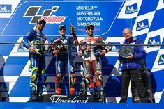 MotoGP in 🇦🇺 Australia: 🥇 Yamaha's 🇪🇸 Maverick 🥈 Suzuki's 🇮🇹 Iannone 29 and 🥉 Ducati's 🇮🇹 Dovi 04 Ducati, Yamaha, Motogp, Basketball Court, Australia, Movies, Films, Cinema, Movie