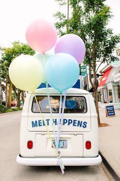 Balloon Installation, Balloon Backdrop, Mylar Balloons, Balloon Garland, Balloon Arrangements, Balloon Centerpieces, Balloon Decorations, Summer Ice Cream, Ice Cream Party