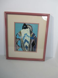 Dolona Roberts Lithograph Native American Colored Blanket Picture Signed Framed #Modernism #DolonaRoberts #NativeAmerican