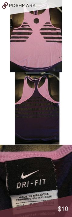 Women's Nike dry fit tank Women's Nike dry fit tank. Light purple in the front and dark purple with black stripes on the back. Very cute. In new condition. Nike Tops Tank Tops