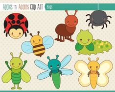 Bugs Clip Art - color and outlines $