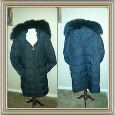St John's Bay Plus Size Down Filled Long Coat 2X Super warm Gorgeous Black Down Filled Long Winter Coat. Faux Fur Hat. Front pockets. Zip closure. You will love this big warm comfortable coat! Perfect for places that get very cold weather. I purchased this coat when I lived in NJ but have since moved to Florida where I don't really need such a warm winter coat. Excellent pre loved condition! **Reduced $50 12/30/14** St John's Bay Jackets & Coats