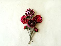 Cranberry Red Paper Flower Bobby Pins Set of 6. by PiggleAndPop, $26.00