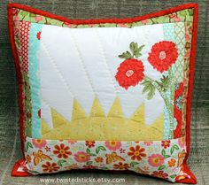 Quilted throw pillow Appliqued throw pillow, home decor yellow red flowers