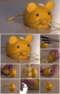 Fruit Carving Lemon Mouse Tutorial sure to get a scream at your next party.LOL..