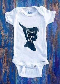 Never Grow Up Peter Pan Face Silhouette Onesie by ChristlesCreations on Etsy