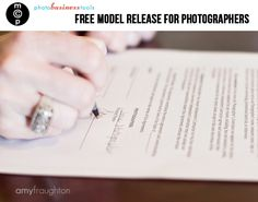 Free Model Release Form for Photographers. This gives your client permission to print photos ect.