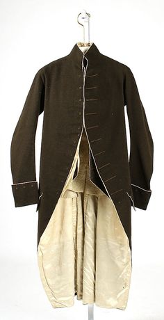 Suit  Date:     fourth quarter 18th century Culture:     European Medium:     wool, silk, cotton Dimensions:     Length at CB (a): 47 1/2 in... Accession Number:     1986.300.7a, b