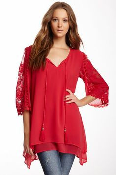Monoreno Lace Sleeve Tunic by Non Specific on @HauteLook