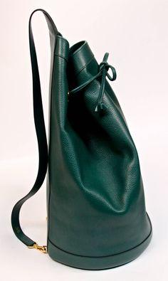 1994 HERMES green ardenne leather 'sac de voyage marin' travel bag image 4