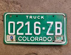 Colorado Truck License Plate Number 0216ZB in Green with White Letters Sept 1993 Registration    #Colorado #GreenAndWhite #Green #LicensePlate #CoLicensePlate #ColoradoTruck #0216ZB #GreenLicense #ManCave #Truck