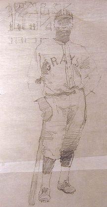 Bernie Fuchs-'Oscar Charleston (Sketch IV)'-Telluride Gallery of Fine Art