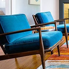 Recovered chairs with Ikea curtains! 29 ways to decorate with blue   Vibrant sea... - http://centophobe.com/recovered-chairs-with-ikea-curtains-29-ways-to-decorate-with-blue-vibrant-sea/ -