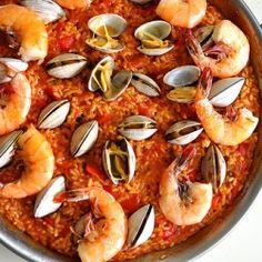 Homemade seafood paella. It tastes just like Spain.