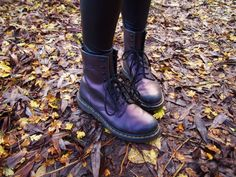 Purple Dr Martens and Autumn leaves <3