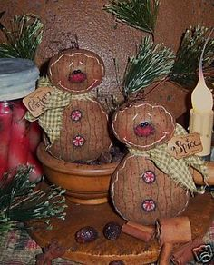 Primitive Gingerbread Peppermint Doll Ornie Pattern PM405 $0.00