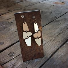 Back in stock. Three paneled earrings from #vintage #Formica. These in cafe mocha colors more colors coming soon. $48.00. #handmade #inbend #trailerlife #makingthings #midcentury #modern #thisisbend #recycled by stuartsofbend