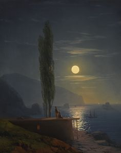 Uploaded by Find images and videos about vintage, aesthetic and nature on We Heart It - the app to get lost in what you love. Landscape Photos, Landscape Art, Landscape Paintings, Arte Peculiar, Moonlight Painting, Beautiful Moon, Russian Art, Moon Art, Aesthetic Art