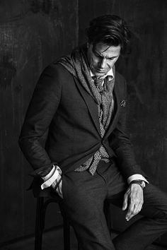 The look on his face: I'm so dressed up, rogue like hair, manly watch, but this scarf is so gay...