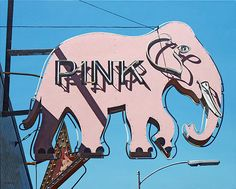 Pink Elephant  Acrylic on canvas, 24 x 30, 2011  © Michael Ward  Sign in Long Beach, CA, since removed.