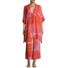Josie Natori Manila Bay Patterned Silk Caftan ($237) ❤ liked on Polyvore featuring tops, tunics, ice pink, side slit top, deep v neck top, red kaftan, pink kaftan and kaftan tops