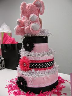 Miranda's Great Finds pink elephant baby shower diaper cake