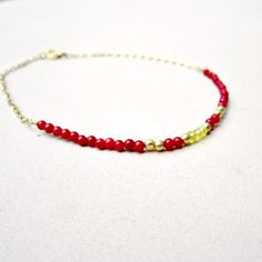 Red Coral Bracelet Gold Filled Jewelry Bead by jewelrybycarmal