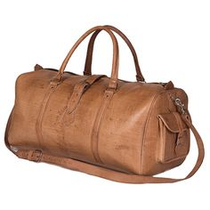 Handcrafted Large Tan Moroccan Leather Duffel Bag (Morocco) | Overstock™ Shopping - Great Deals on Backpacks/Luggage