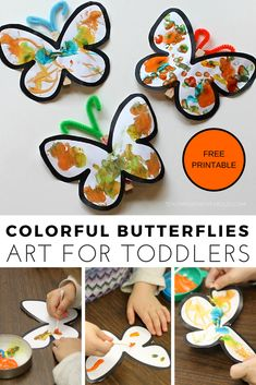 Add some extra fine motor fun with this toddler butterfly art. Download the free printable, paint with Q-Tips, and attach to a clothespin for a fun spring decoration! #toddlers #art #finemotor #printable #butterfly #spring #AGE2 #AGE3 #teaching2and3yearolds